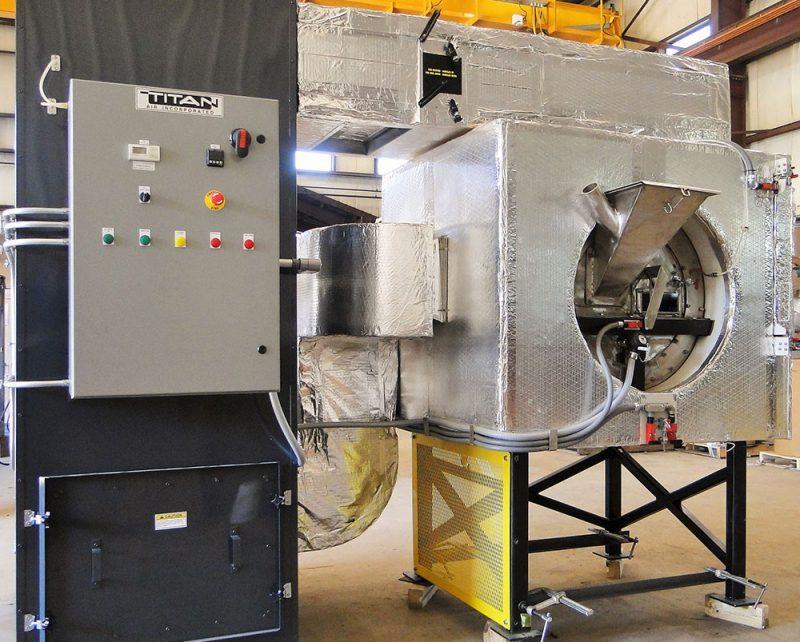 Mk IX Rollo-Mixer pilot coater with high heat exchanger to 400F